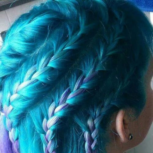 teal to purple braid hairstyles for long hair