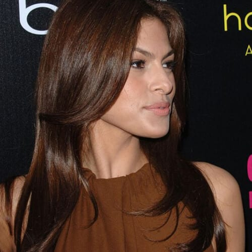 eva mendez chestnut hair color