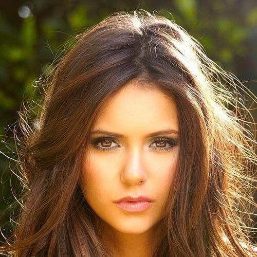 nina dobrev chestnut hair color