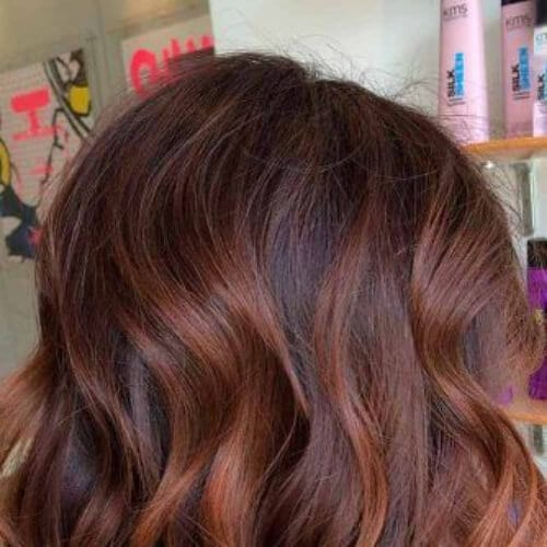wavy bob chestnut hair color