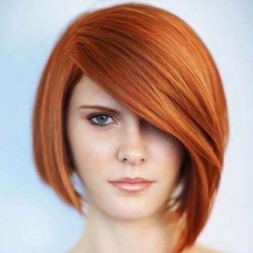 Asymmetrical bob short haircuts for straight hair