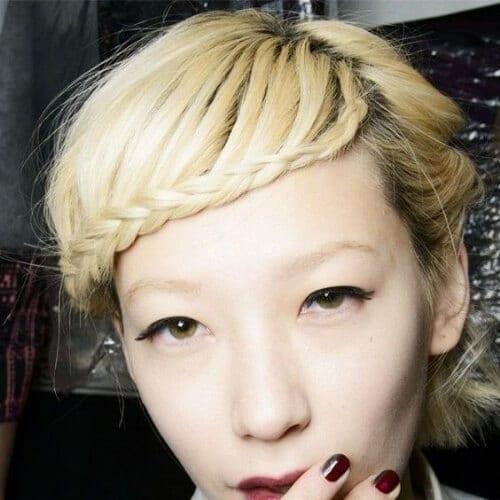 blonde braided bang hairstyles