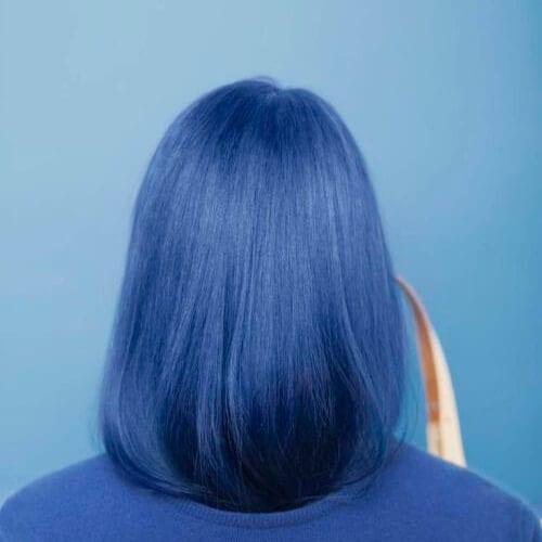 blue short haircuts for straight hair