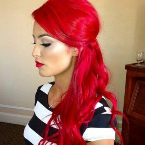 cherry red side hairstyles for prom