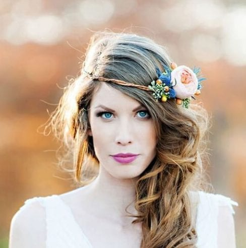 flower crown side hairstyles for prom