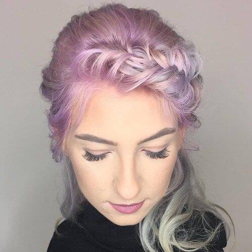 lilac braided bang hairstyles