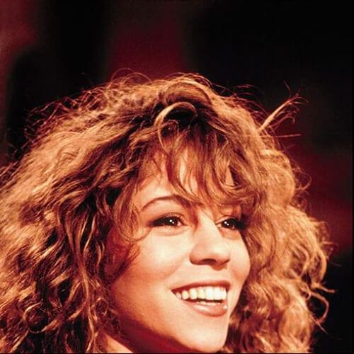 mariah carey curly hair with bangs
