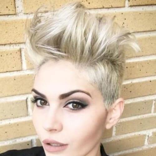 Messy Blonde Undercut short punk hairstyles