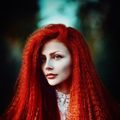 red crimped hairstyles