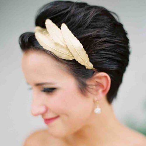 metallic feathers wedding hairstyles for short hair
