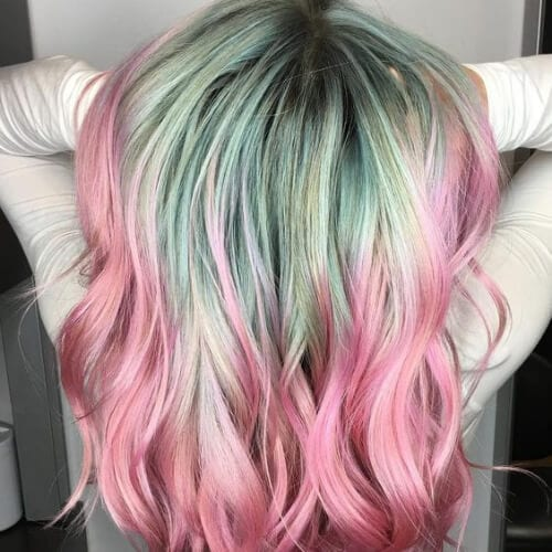 mint and rose two tone hairstyles
