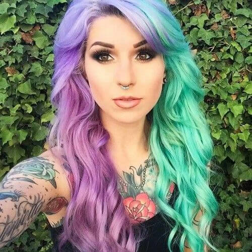 mint lavender two tone hairstyles