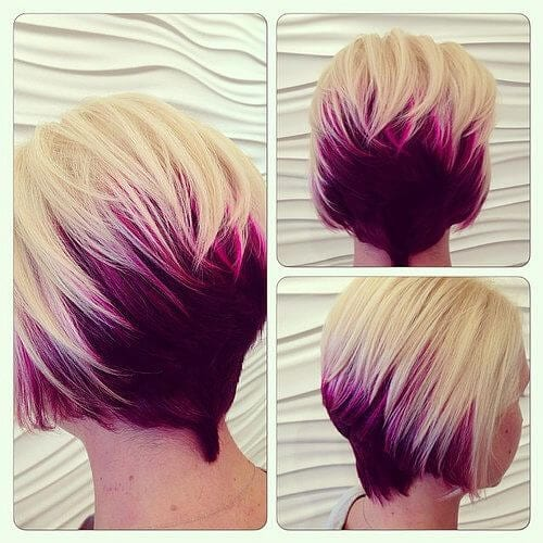 opera mauve stacked bob two tone hairstyles