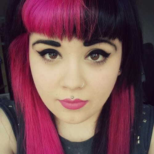 pink black two tone hairstyles