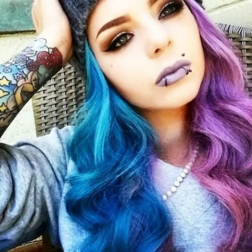 purple blue two tone hairstyles