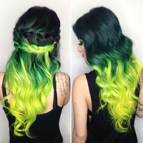 shades of green two tone hairstyles