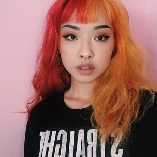 tangerine cherry red two tone hairstyles