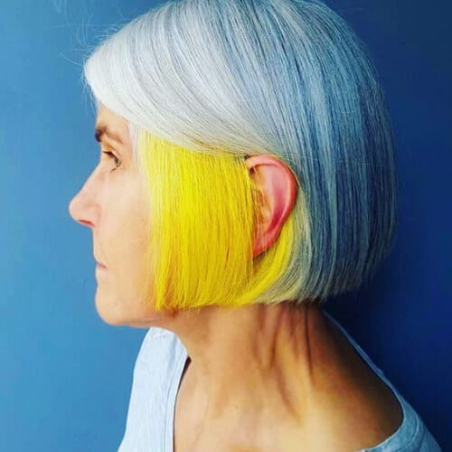 yellow and white two tone hairstyles
