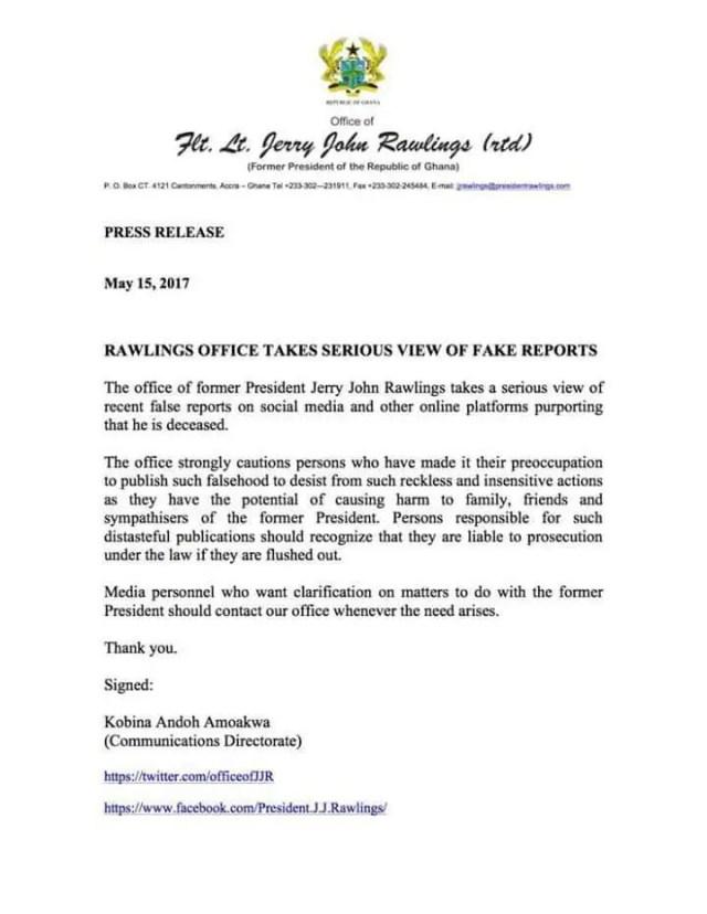 Ghana: la folle rumeur du décès de Jerry Rawlings. La réaction de son cabinet.