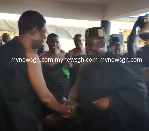 Otumfuo pays historic visit to Paramount Chief of Techiman