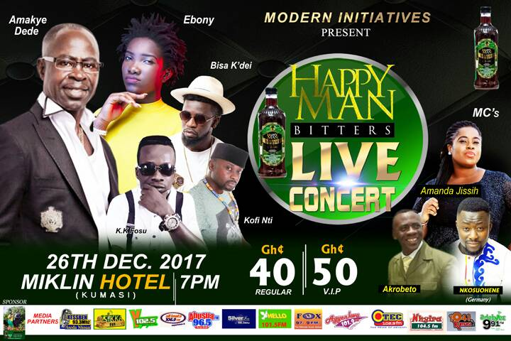 Abrantie Amakye Dede, Ebony and others to rock Kumasi on December 26