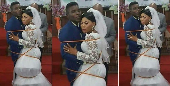 Pastor ties bride & groom with a rope