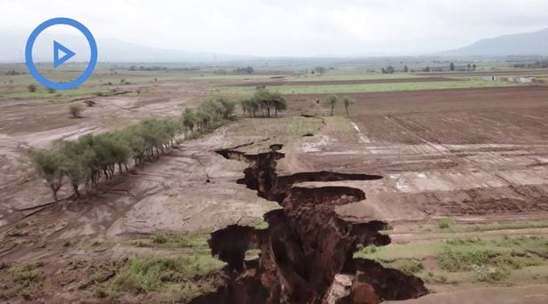 Drone footage shows growth of huge miles-long crack that could tear Africa in TWO