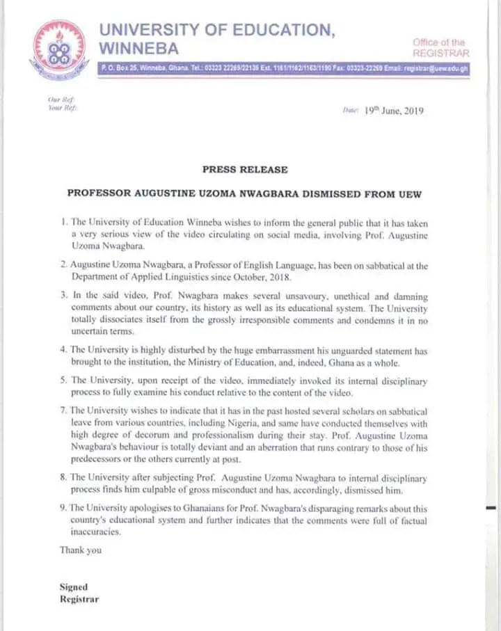 BREAKING NEWS: Nigerian Professor sacked by University of Education, Winneba 1