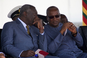 Mahama and Kufuor conffering at a public gathering