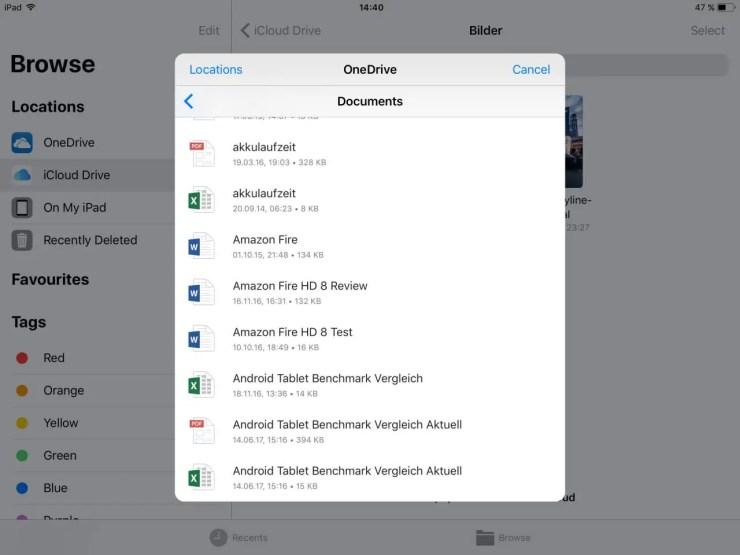 iOS 11 OneDrive