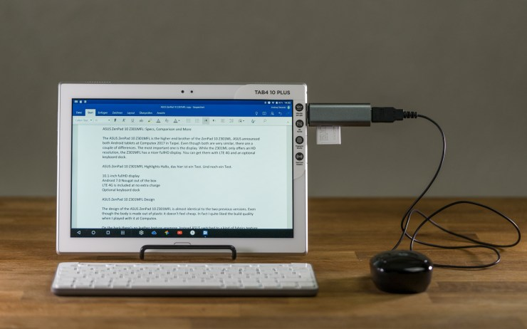 Lenovo Tab 4 10 Plus with keyboard and mouse