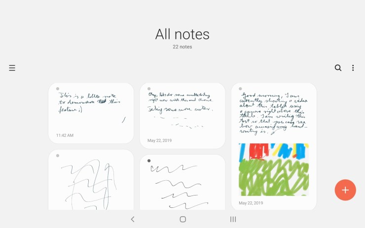 Samsung Galaxy Tab A with S Pen Notes app