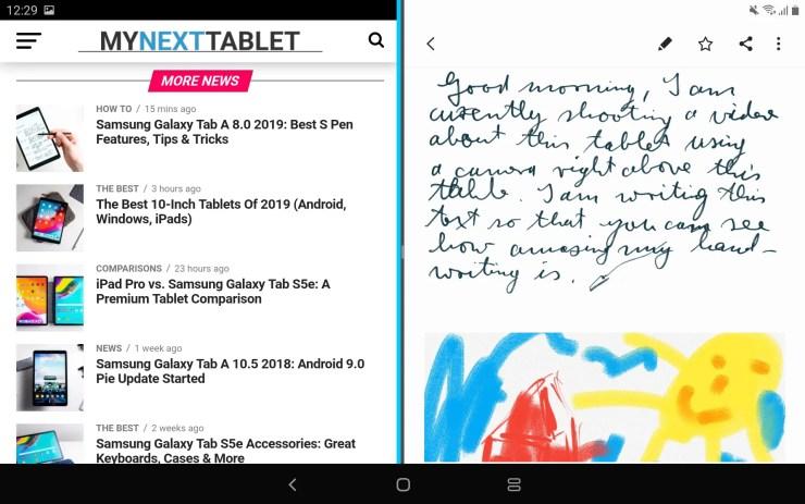 Samsung Galaxy Tab A 2019 split screen view