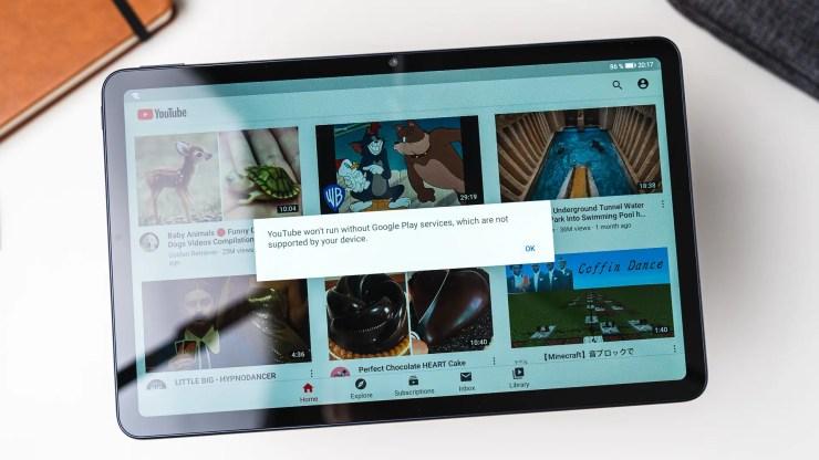 Huawei MatePad 10.4 YouTube app