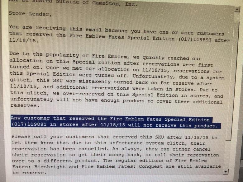 GameStop_Cancel_Fire_Emblem_Fates_Pre-Orders