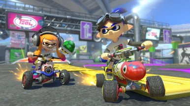 The Inklings take to a different kind of battle in Mario Kart.