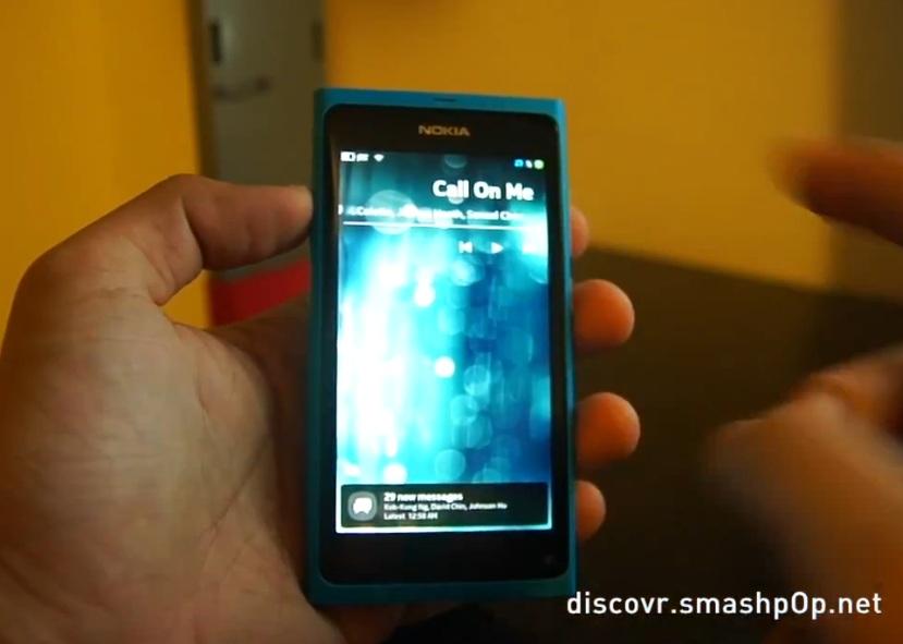 Video: Nokia N9 PR1 1 Update demo: Music player lock screen
