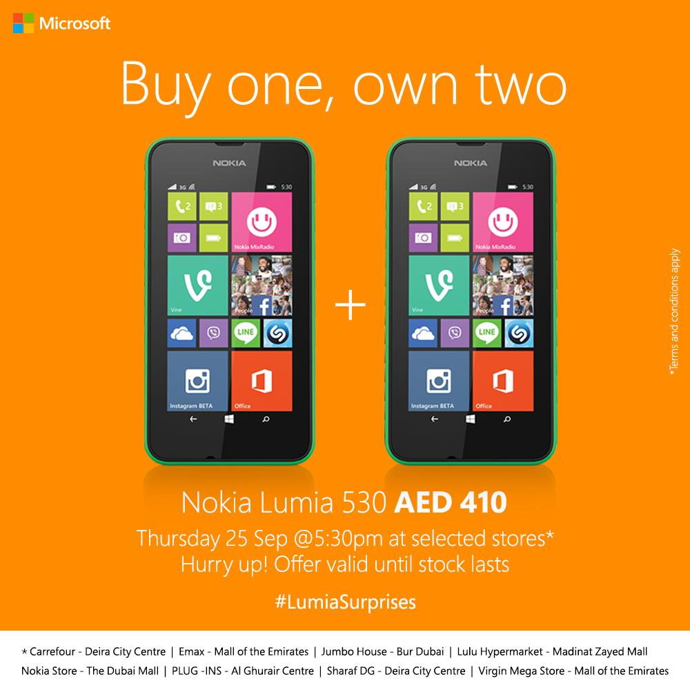 Nokia UAE Offering Two Lumia 530's for $111/410 AED : My Nokia Blog