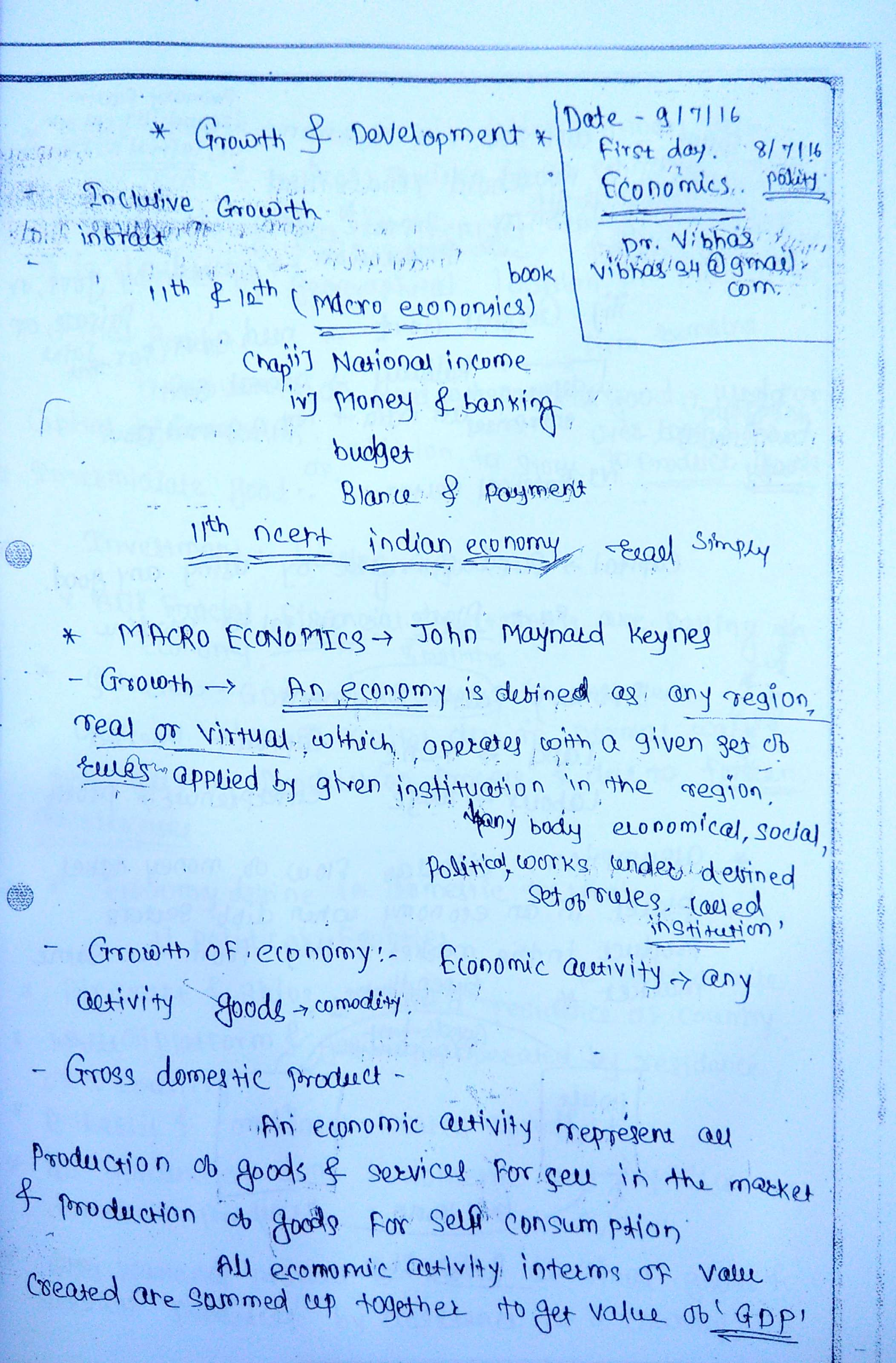 Ias Gs 3 Mains Vajiram General Stu S Economics Class Notes English Medium My