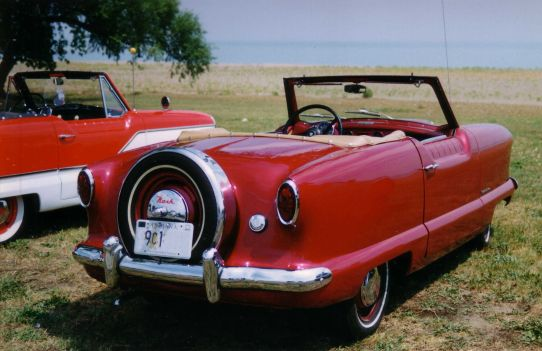 1953 Nash Metropolitan convertible red by lake