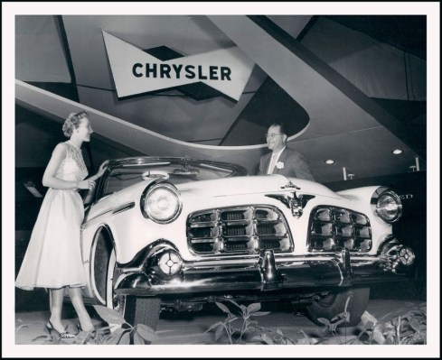 1955 Chrysler Imperial car model shown on display at January 1955 Chicago Auto Show