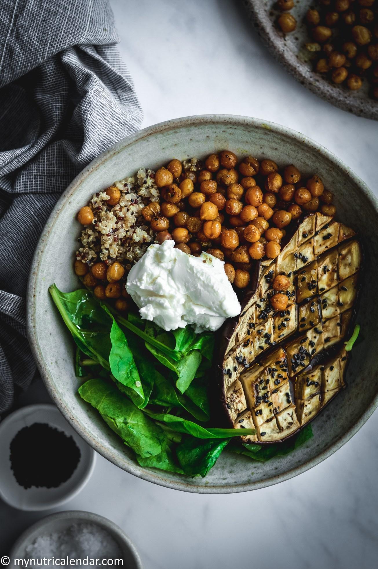 honey roast aubergine crispy cuurry chickpeas quinoa salad bowl 4.jpg