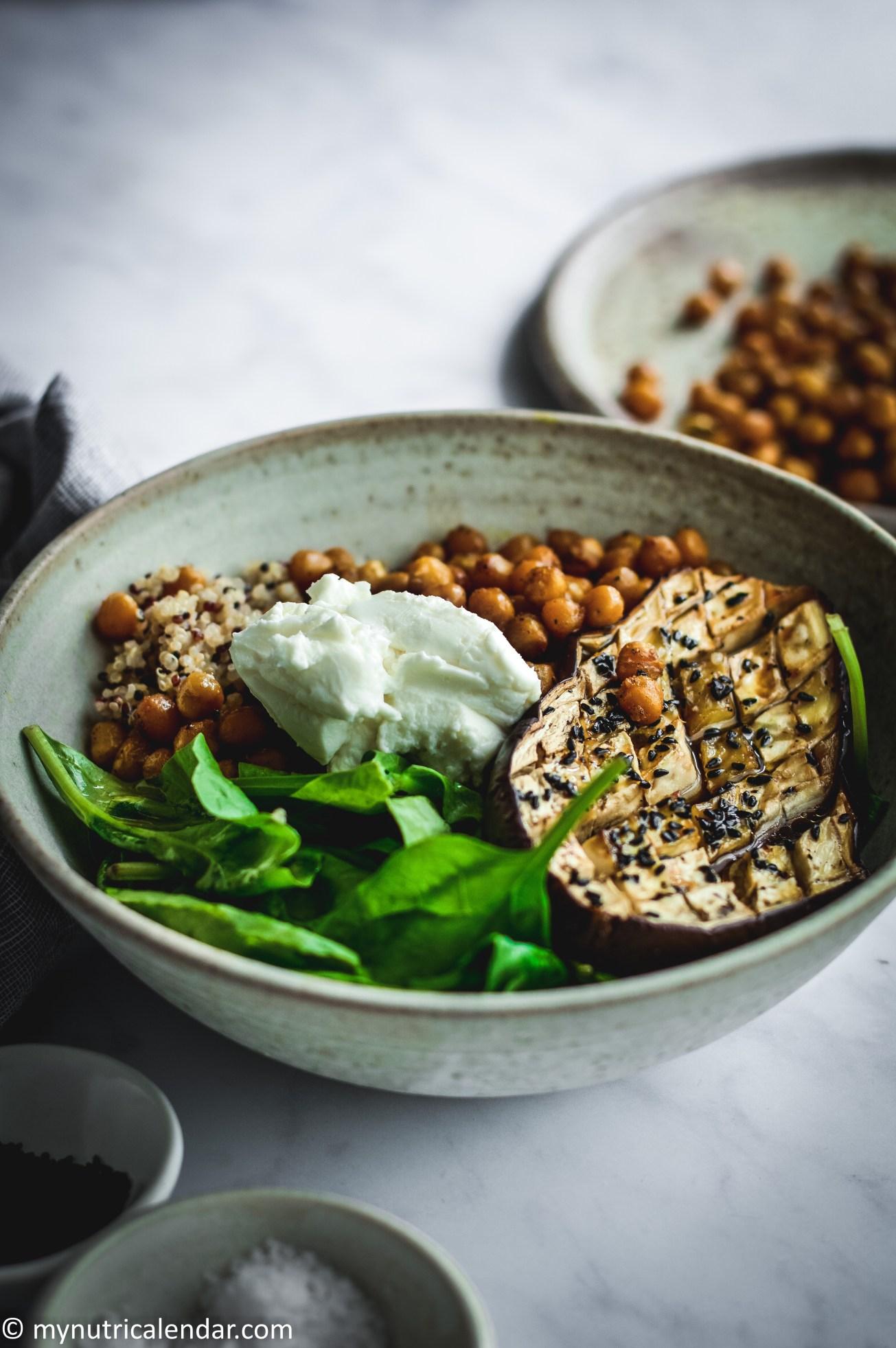 honey roast aubergine crispy cuurry chickpeas quinoa salad bowl 5
