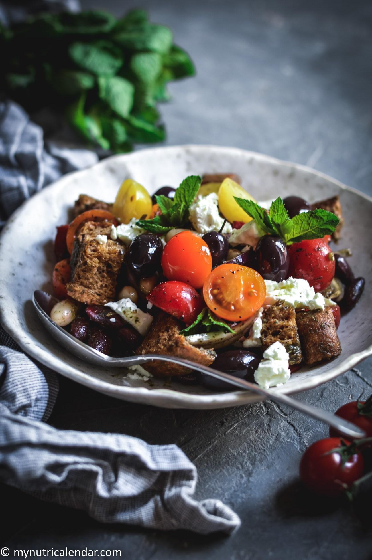 mixed beans salad feta mint dressing 4