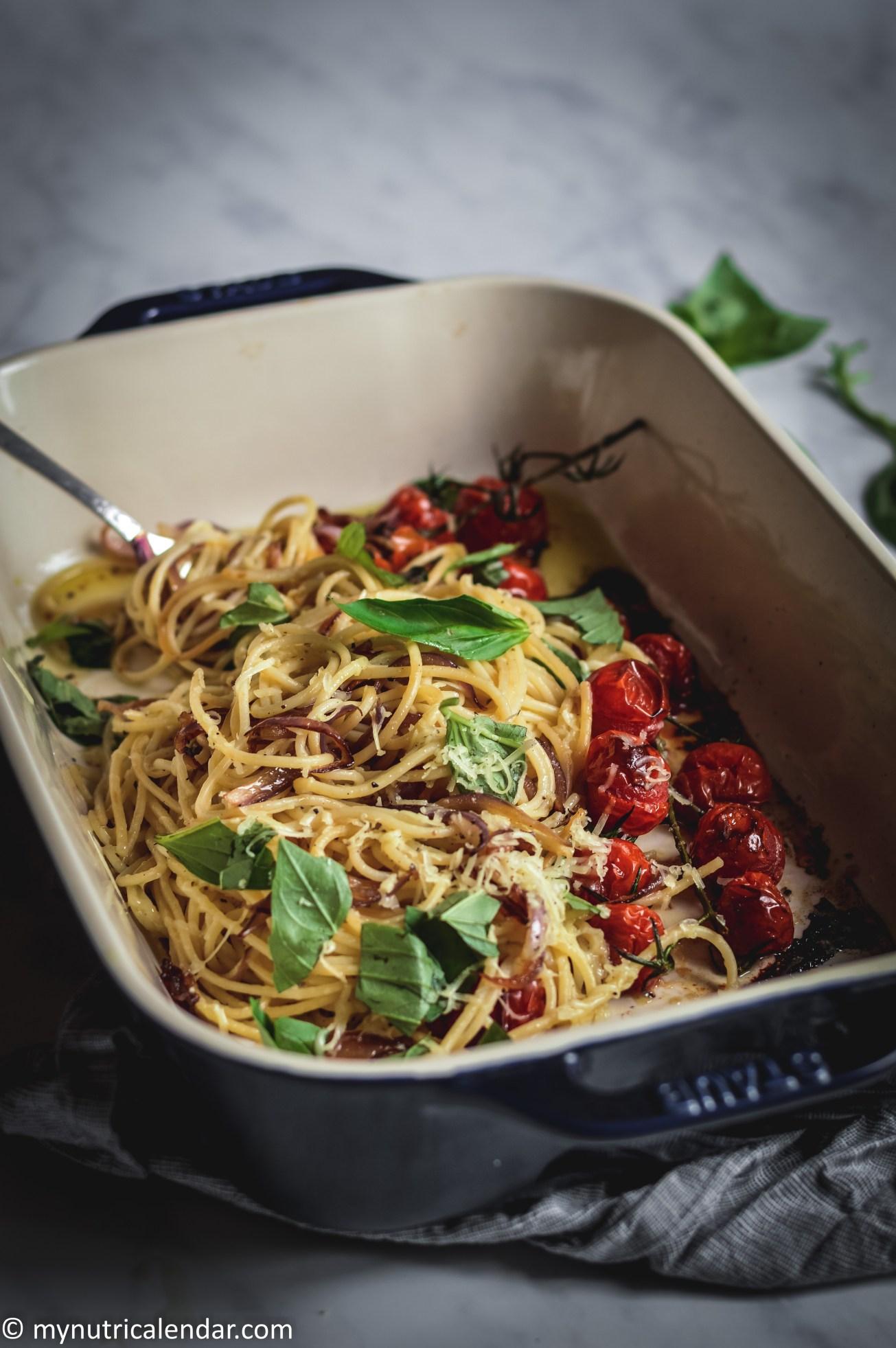 roasted tomatoes basil spagheti 1