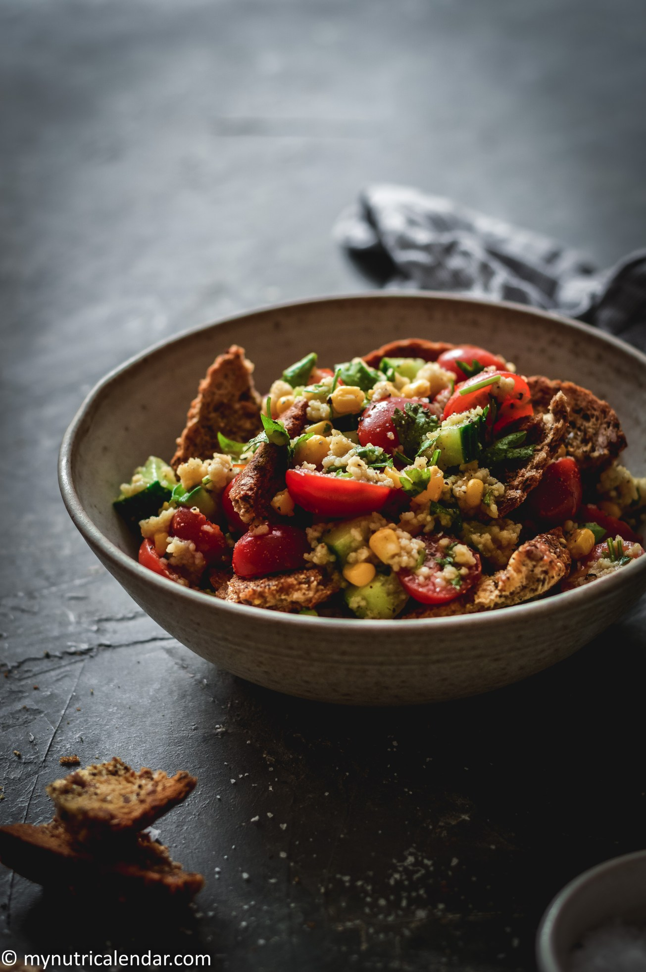 couscous corn salad with garlic bread leftovers 7