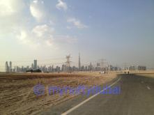 The playing field - with the Dubai skyline in the background