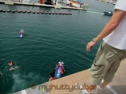 Jumping into the marina - 5th obstacle