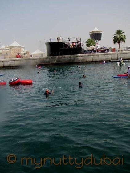 Swimming across the marina