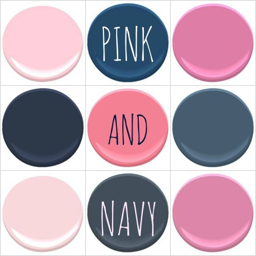 BENJAMIN MOORE: PINK RIBBON, DOWNPOUR BLUE, PARADISE PINK, HALE NAVY, POPSICLE PINK, OLD NAVY, ELEPHANT PINK, VAN DEUSEN BLUE AND PINK LADIES.